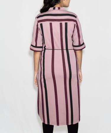 Infeel Tunic Top Strip Design (L,Wine,7237)