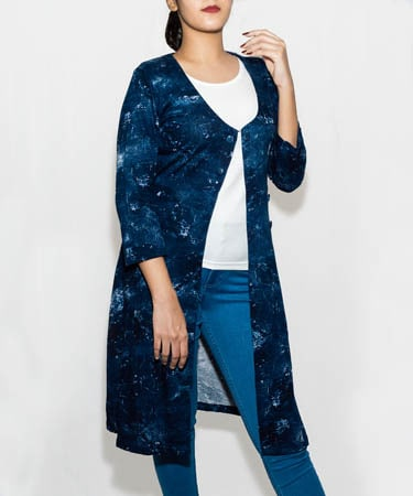 Infeel Tunic Top Navy Jacket With White Inner (L,Navy Blue)