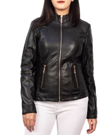 Women Black Leather Jacket (L,Black)