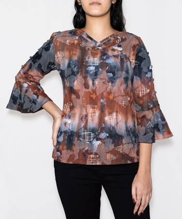 Infeel Multi Printed Top (L,Brown Printed)