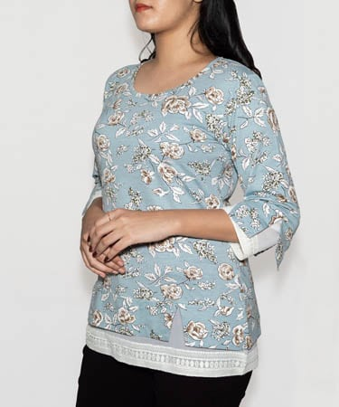 Infeel White Floral Top (S,Light Pista Green)