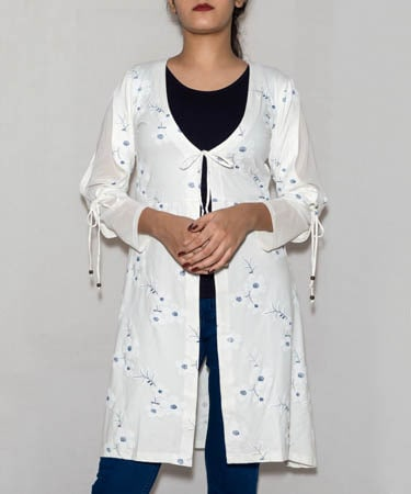 Infeel Tunic Top OFF WHITE Long Jacket With Navy Blue Inner (3XL,Off White & Navy Blue)