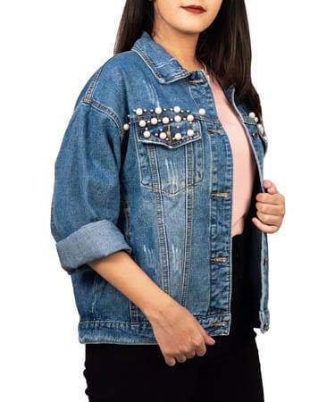 Women Baggy Denim Jacket (XL,Denim Blue)