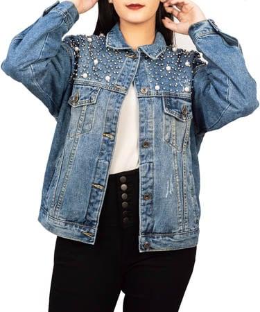 Women Oversized Denim Jacket (XL,Denim)