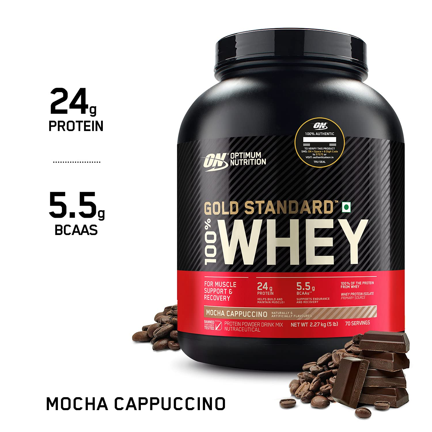 Optimum Nutrition (ON) Gold Standard 100% Whey Protein Powder - 5 Lbs, 2.27 Kg (Mocha Cappuccino), Primary Source Isolate