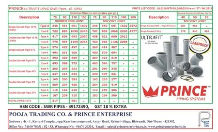 SWR PIPE & FITTING PRICE LIST - PRINCE ULTRAFIT - Pooja