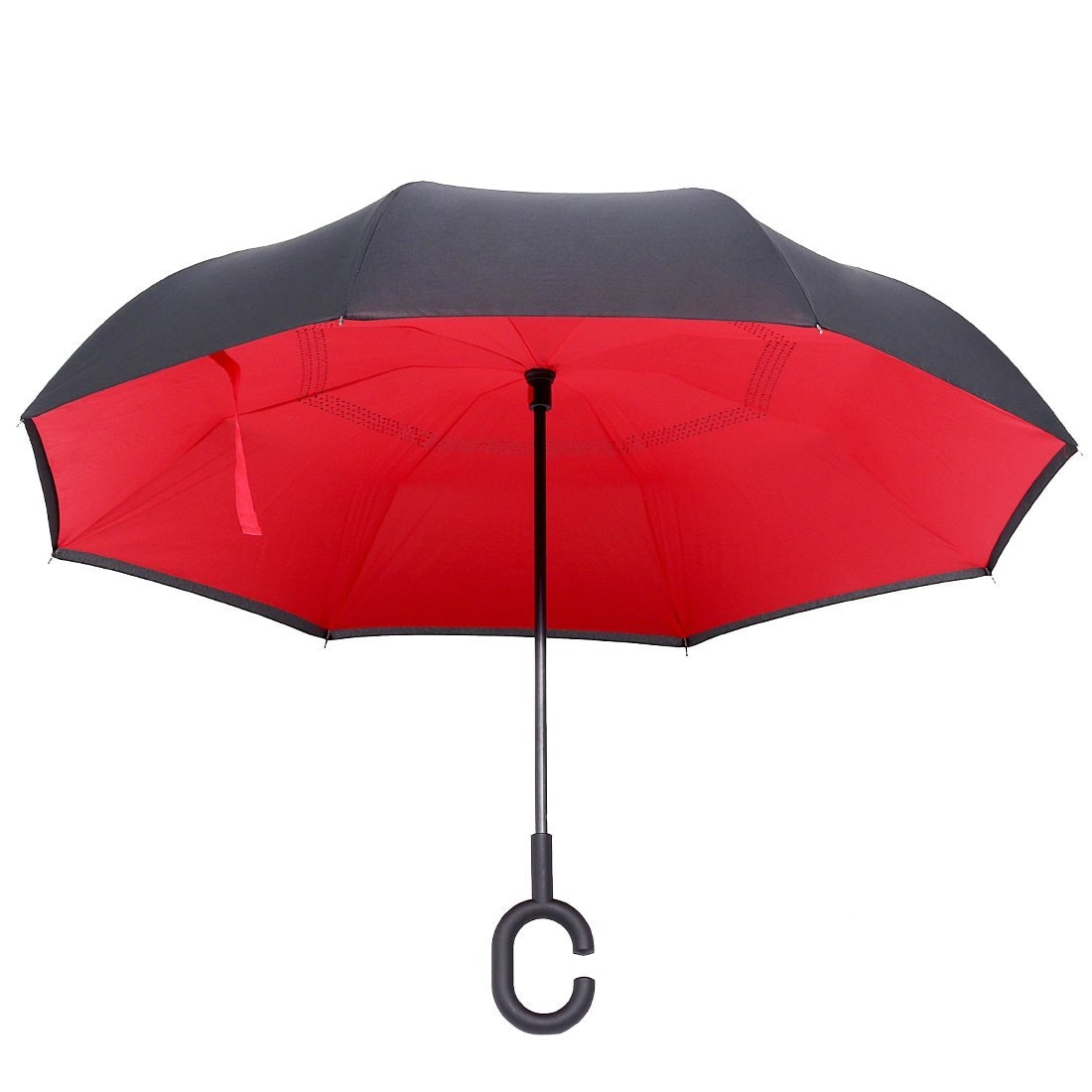 SPAZIES Double Layer Reverse Umbrella For Car And Outdoor , Windproof UV Protection Big Straight Umbrella With C-Shaped Handle And Carrying Bag