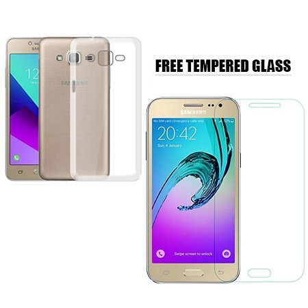 Samsung Galaxy J2 SM-J200G Transparent Silicone Flexible Soft TPU Slim Back  Cover [Combo Offer With Free Temper Glass Screen Protector] - Mobile &