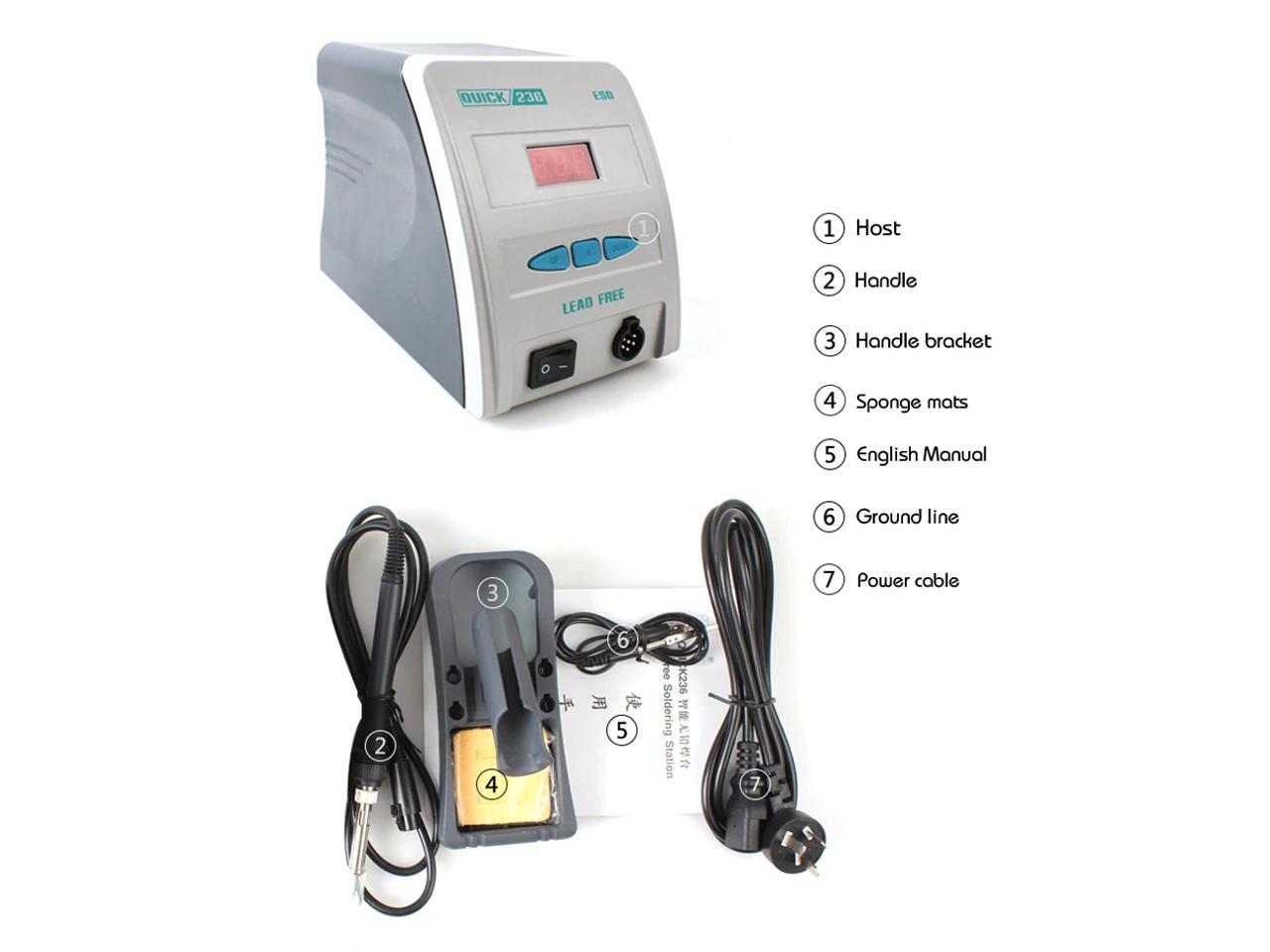 Heavy Duty QUICK 236 SOLDERING STATION Lead Free Anti-Static With Digital Display 90W 110V Fast