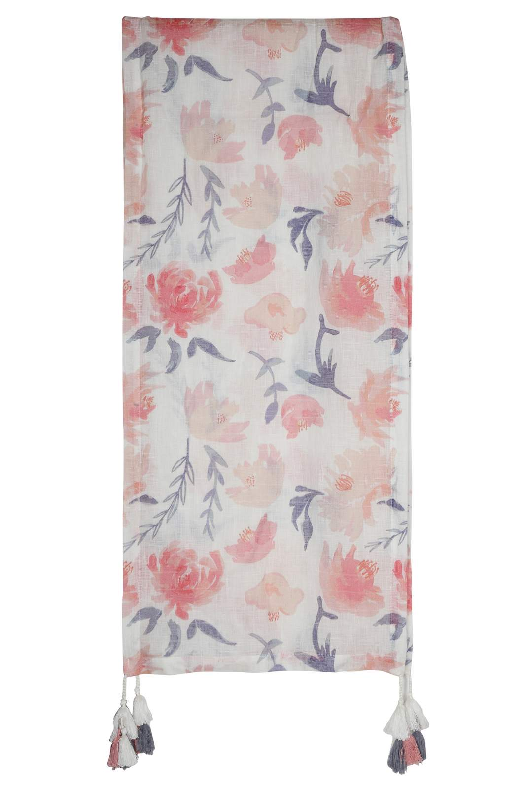 ST 907712 White And Pink Linen Stole One Size - White And Pink (One Size,White and Pink)