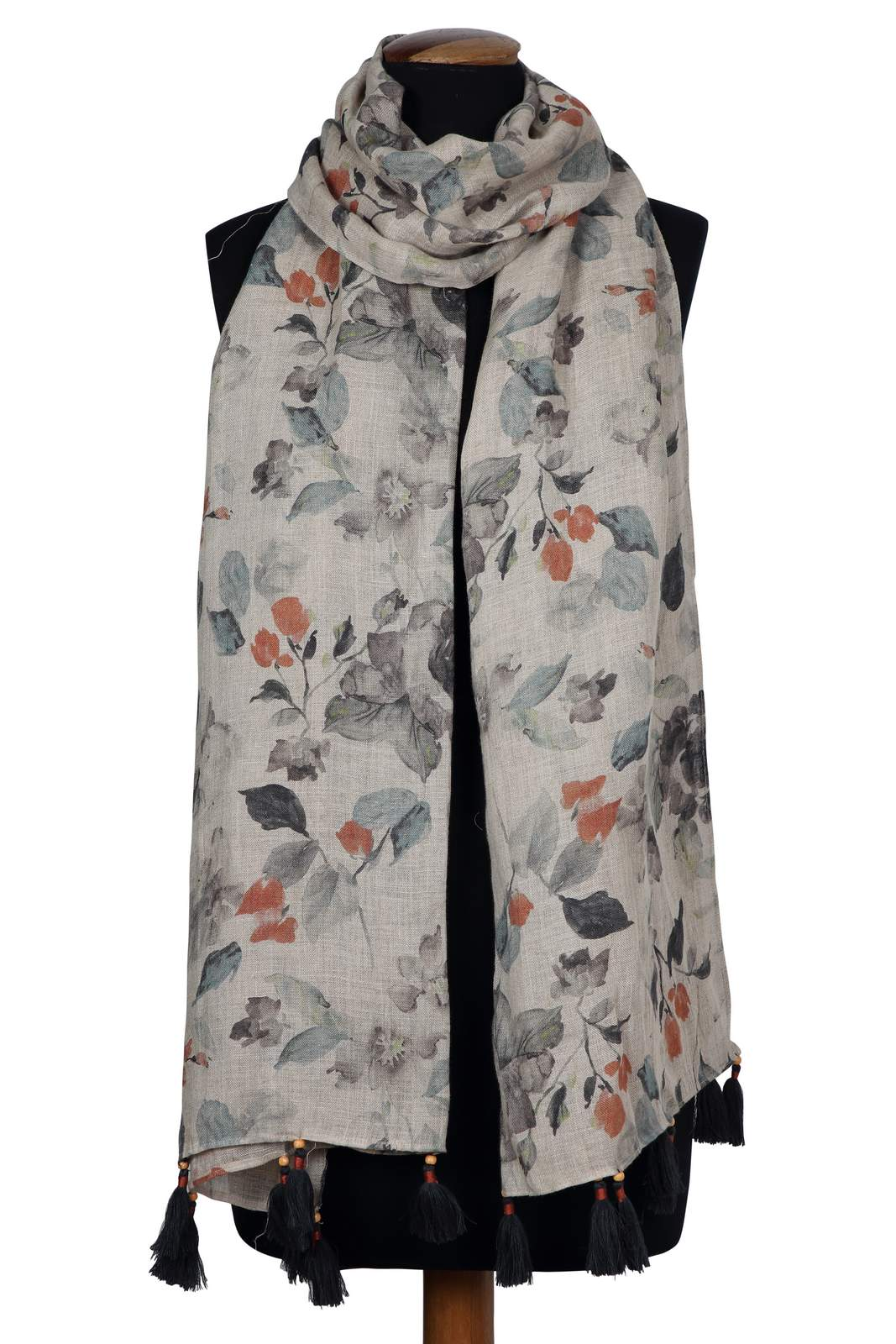 907742B Grey Floral Printed Linen Scarf (One Size,Natural)