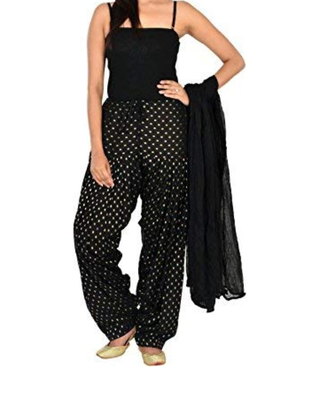 Samridhi Collections Combo Of Women's Cotton Patiala And Dupptta Golden Booti Work (Black)