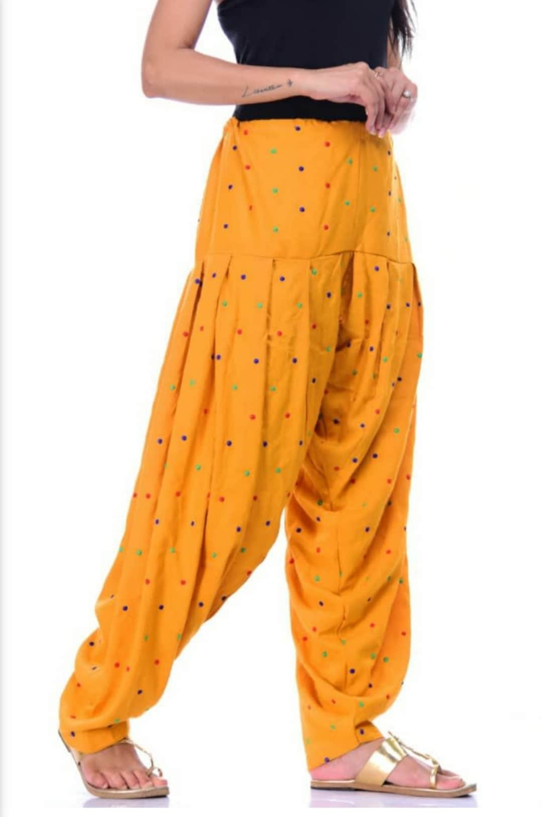 Samridhi Collections Rayon Patiala For Girls & Women's (Yellow)