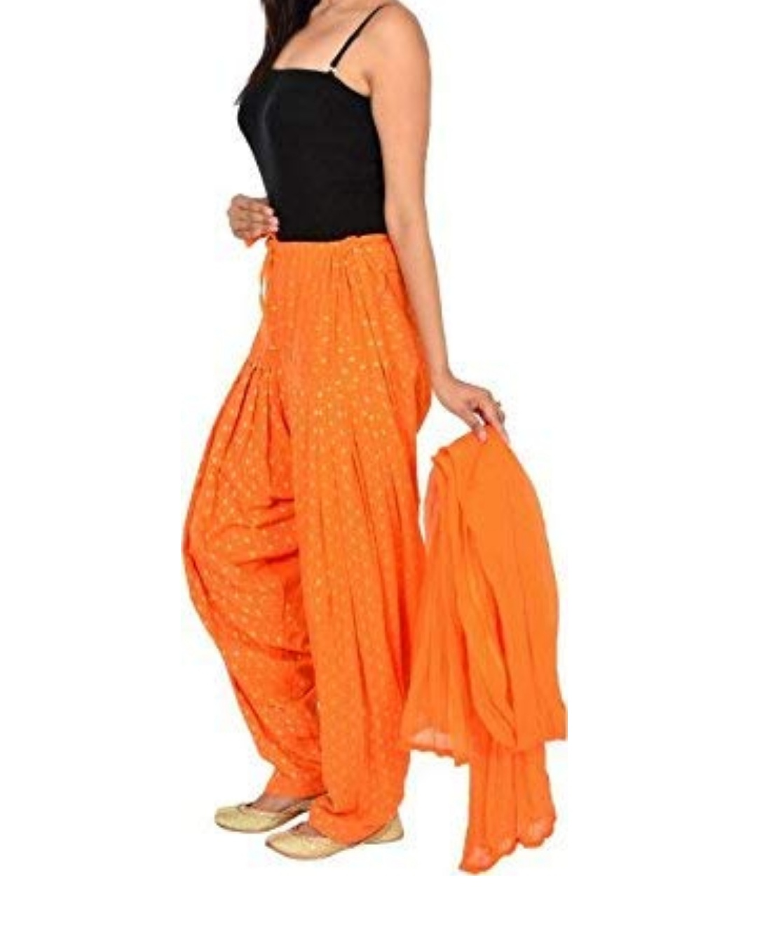 Samridhi Collections Combo Of Women's Cotton Patiala And Dupptta Golden Booti Work (Orange)