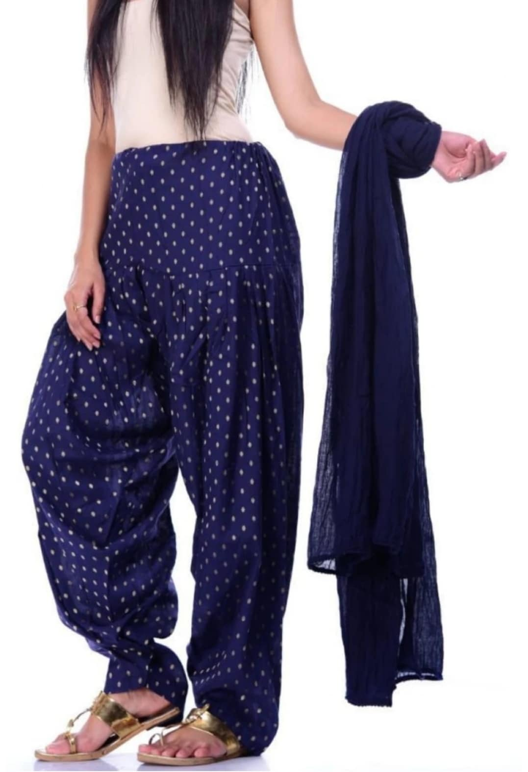 Samridhi Collections Combo Of Women's Cotton Patiala And Dupptta Golden Booti Work (Nevy Blue)