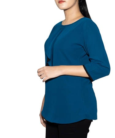 Women Semi-Formal Tops (XL,Peacock Blue)