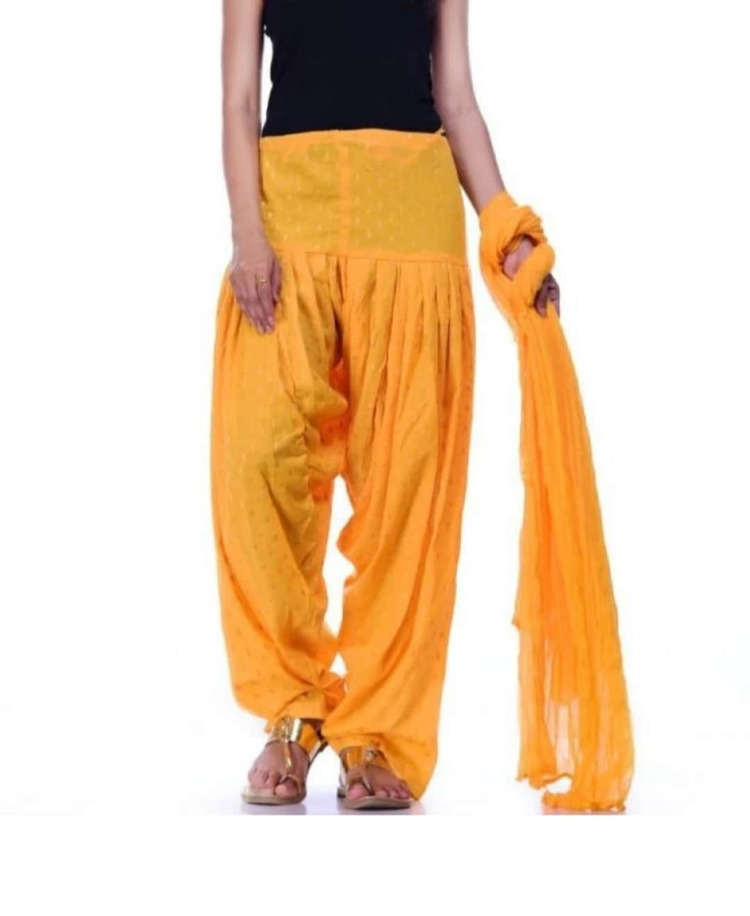 Samridhi Collections Combo Of Women's Cotton Patiala And Dupptta Golden Booti Work (Yellow)