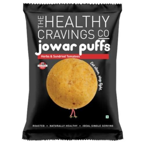 The Healthy Cravings Co. Herbs & Sundried Tomatoes Roasted Jowar Puffs (Pack Of 6)