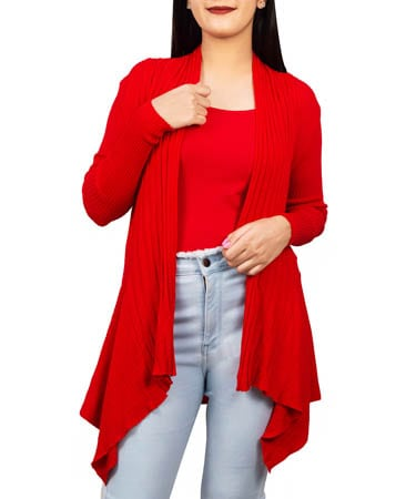 Women Knitted Shrug (XL,Red)