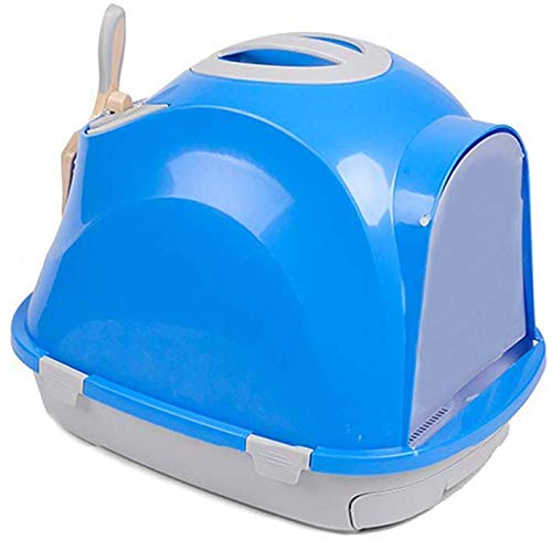 Pets Empire Fully Enclosed Litter Boxes Double Layer Cat Litter Tray Easy Clean With Gird Large Cat Toilet Litter Shovel,Pack Of 1-Blue Color.