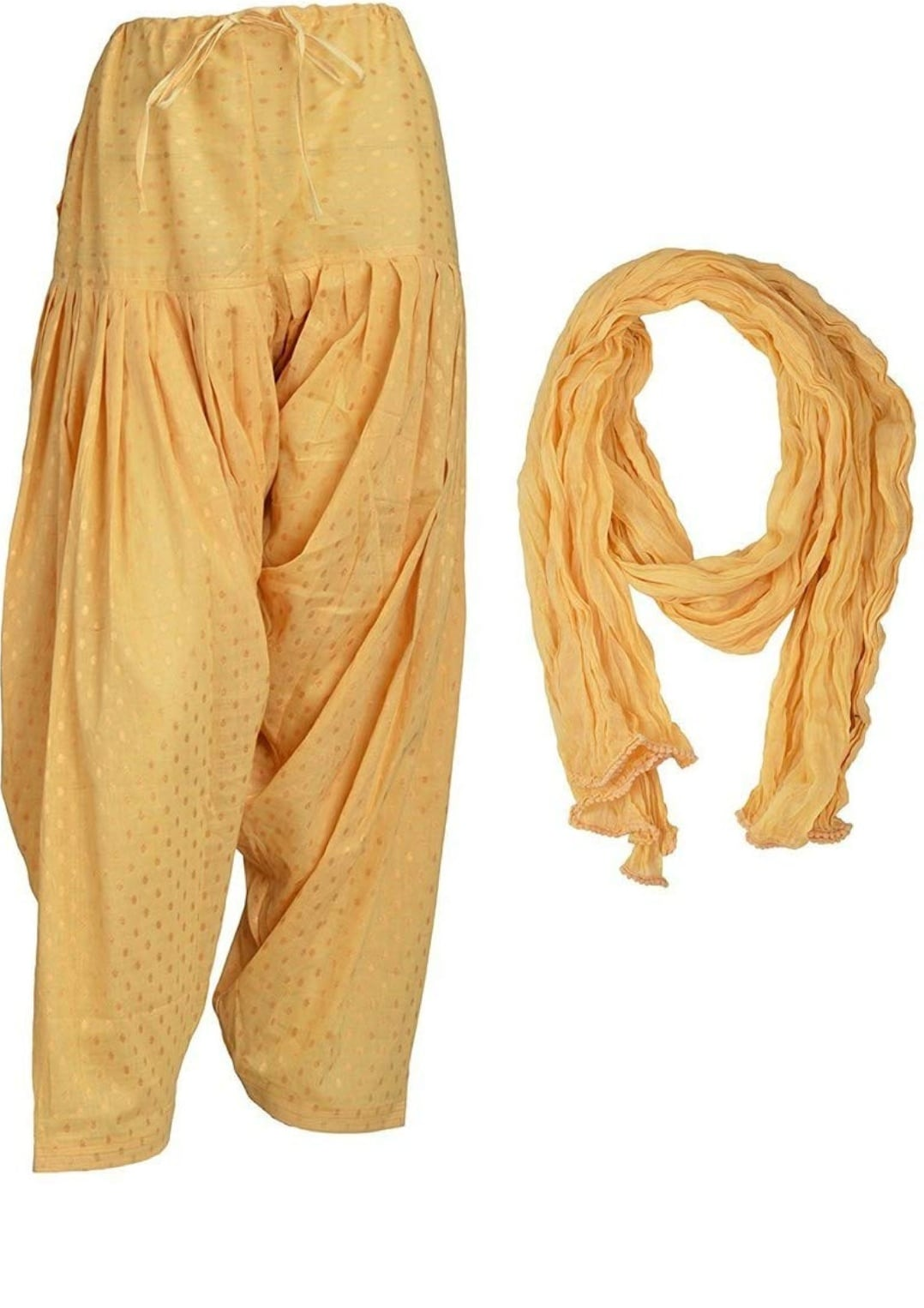 Samridhi Collections Combo Of Women's Cotton Patiala And Dupptta Golden Booti Work (Skin)