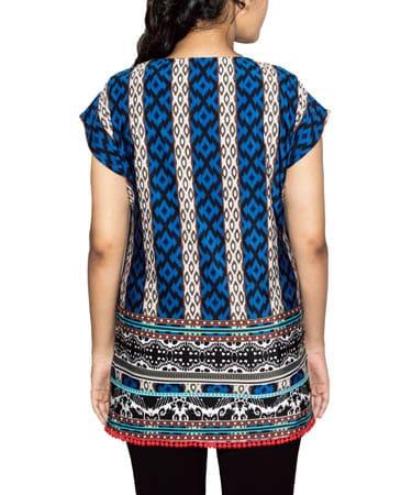 Women Multi Printed Lycra Top (M,Blue Print)