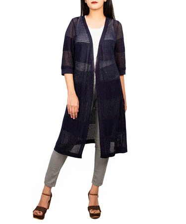 Women Knitted Long Shrug (XL,Navy Blue)