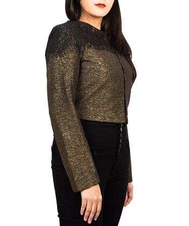 Women Shimmery Jacket (M,Golden Shimmer)