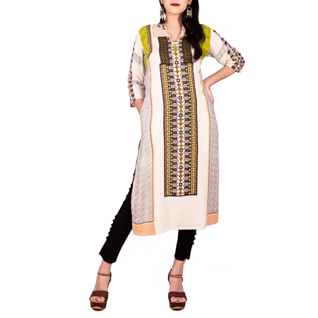 Shree The Indian Avatar Off White & Green Printed Kurti For Women (S,Off White & Green)