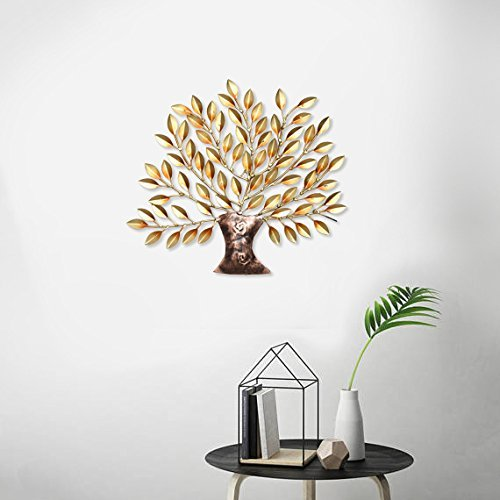 Golden Tree Of Life Wall Decor And Hanging Mounted Art Sculpture