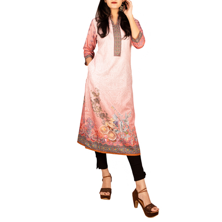 Shree The Indian Avatar Pink Shady Printed Kurta For Women (2XL,Pink)