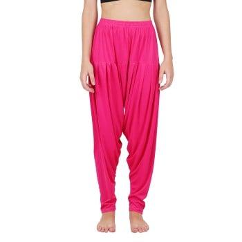 4 Way Lycra Patiyala Leggings For Women With Robe (XL,Pink)