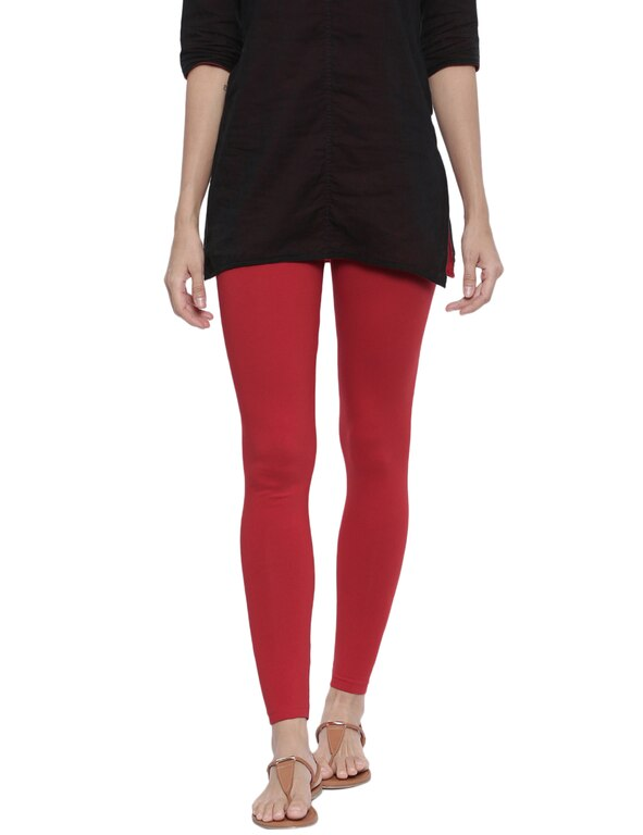 Organic Cotton Ankle Leggings (M, Salsa)