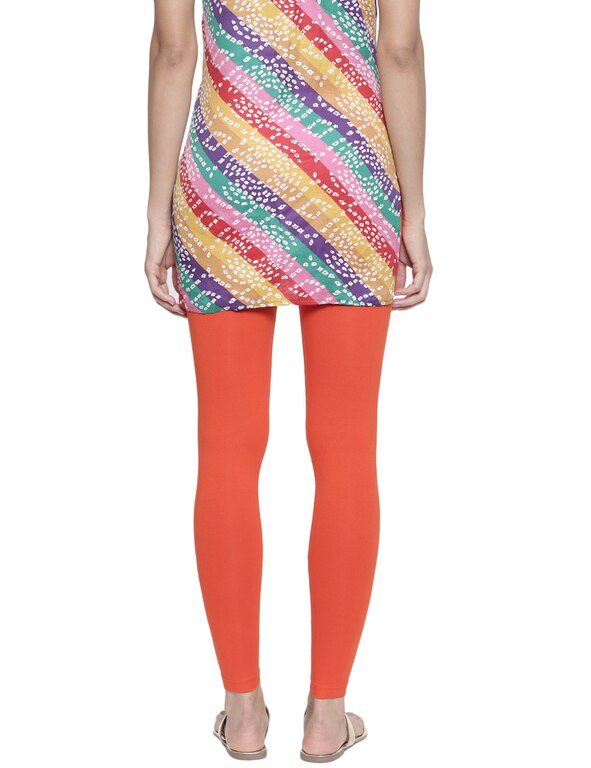 Organic Cotton Ankle Leggings (S, Orange)