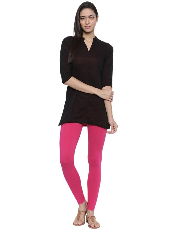 Organic Cotton Ankle Leggings (XL, Magenta)