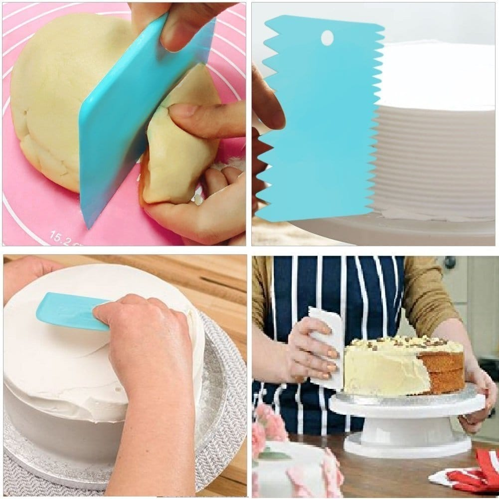 3pcs Set Plastic Dough Pastry Scraper Cake Cutter, Chopper, Smoother Icing Fondant Cake Decorating Pastry Baking Tool