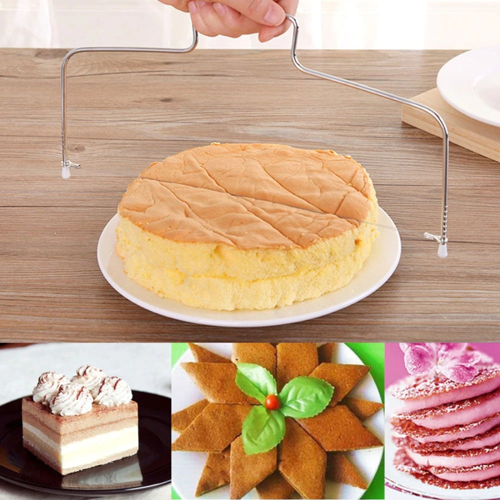 Professional Cake Layer Cutter, Double Stainless Steel Cake Cutting Wire Cake Slicer