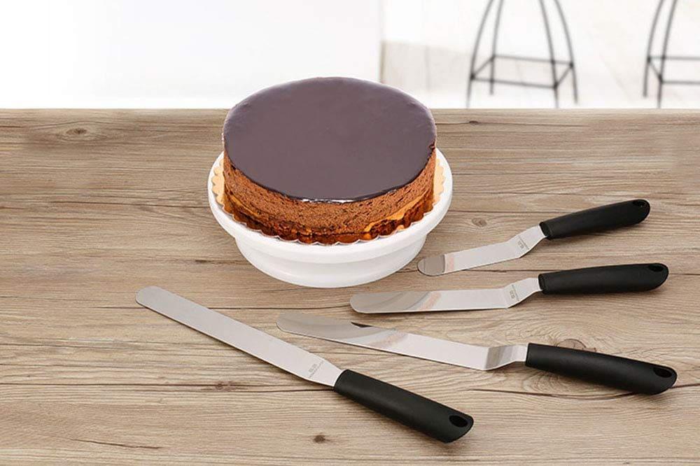 Cake Spatula Palette Knife Set, Angled Stainless Steel Icing Spatula Set, Set Of 4 Offset Cake Decorating
