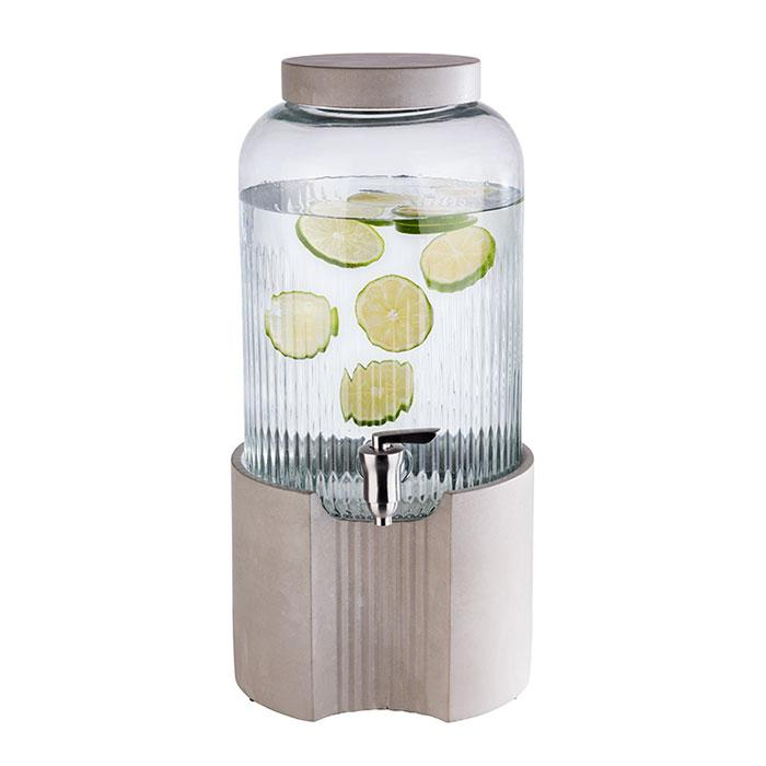 DRINKS DISPENSER -ELEMENT- Ø 22 CM, H: 45 CM, 7 LTR. GLASS CONTAINER STAINLESS STEEL TAP CONCRETE BASE AND LID WITH NON-SLIP FEET 10400 APS