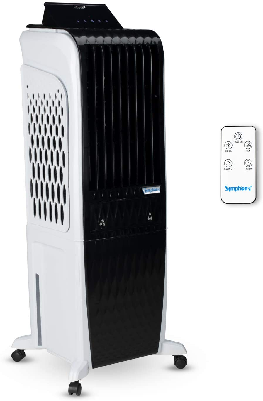 Symphony Diet 3D - 30i Personal Tower Air Cooler 30-litres With Magnetic Remote, 3-Side Cooling Pads, Pop-up Touchscreen
