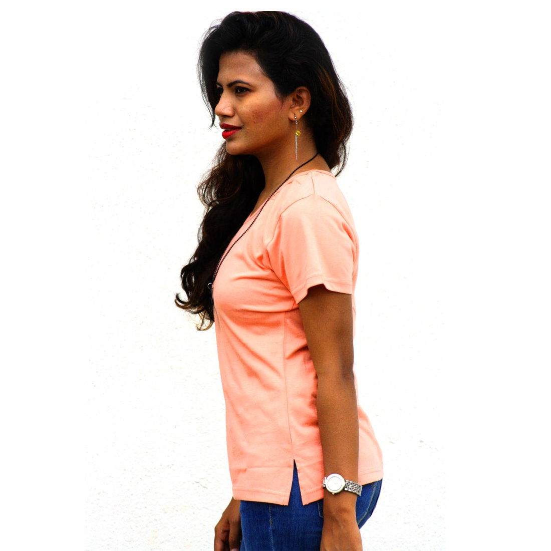 Wiluminaty Organic Cotton V-neck Ladies T-shirt - Orange (3XL)