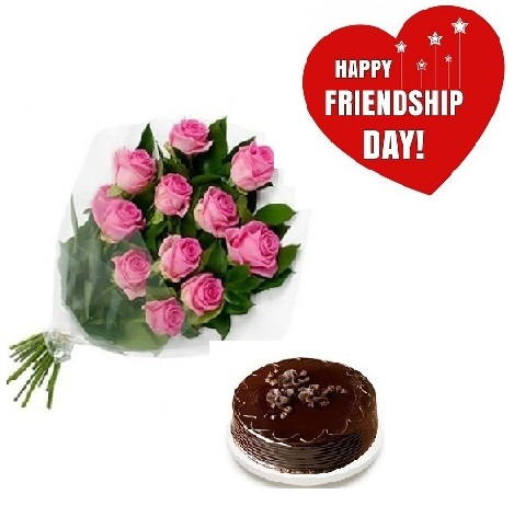 Friendship Day Gift Of Fresh Flower Bouquet (Bunch Of 12 Pink Roses) And Cake - FFCAFRD307 (Mid-Night (11PM, 00AM), Regualr with egg, 0.5 Kg)