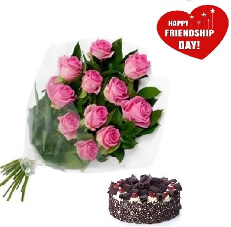 Friendship Day Gift Of Fresh Flower Bouquet (Bunch Of 12 Pink Roses) And Cake - FFCAFRD306 (Morning (09AM,12PM),Make it eggless,0.5 Kg)
