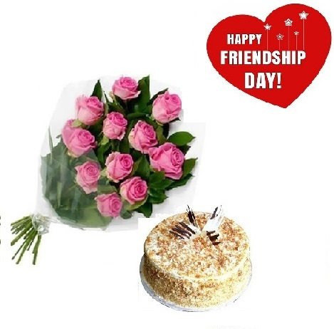 Friendship Day Gift Of Fresh Flower Bouquet (Bunch Of 12 Pink Roses) And Cake - FFCAFRD305 (Mid-Night (11PM 00AM) Regualr with egg 0.5 Kg)
