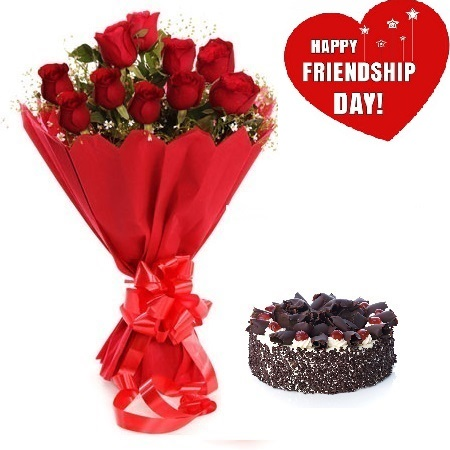 Friendship Day Gift Of Fresh Flower Bouquet (Bunch Of 12 Red Roses) And Cake - FFCAFRD303 (Mid-Night (11PM, 00AM), Regualr with egg, 1.0 Kg)