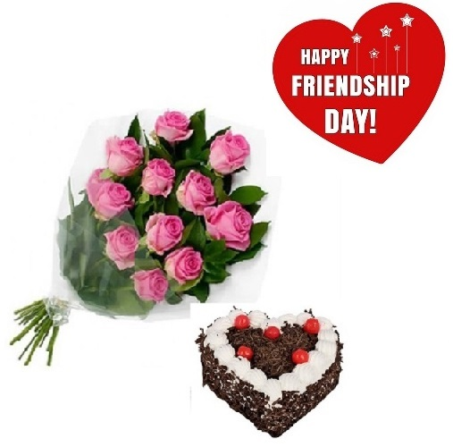 Friendship Day Gift Of Fresh Flower Bouquet (Bunch Of 12 Pink Roses) And Heart Shape Cake - FFCAFRD311 (Morning (09AM, 12PM), Make it eggless, 1.0 Kg)