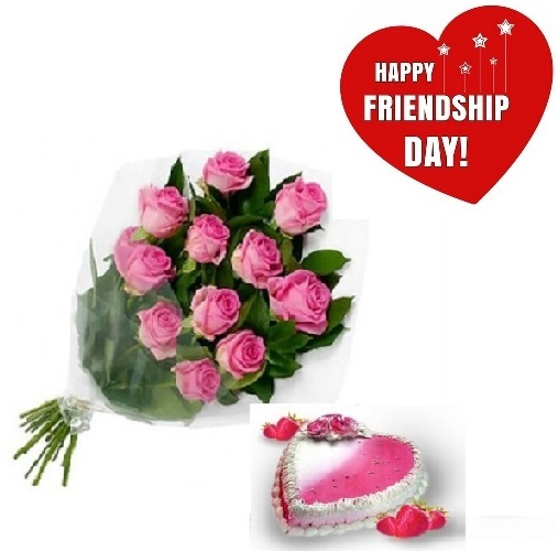 Friendship Day Gift Of Fresh Flower Bouquet (Bunch Of 12 Pink Roses) And Heart Shape Cake - FFCAFRD312 (Evening (03PM, 06PM), Make it eggless, 1.5 Kg)