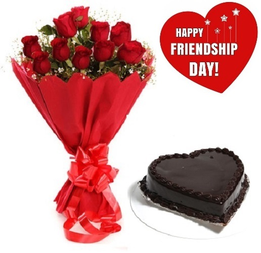 Friendship Day Gift Of Fresh Flower Bouquet (Bunch Of 12 Red Roses) And Heart Shape Cake - FFCAFRD310 (Evening (03PM, 06PM), Make it eggless, 1.0 Kg)