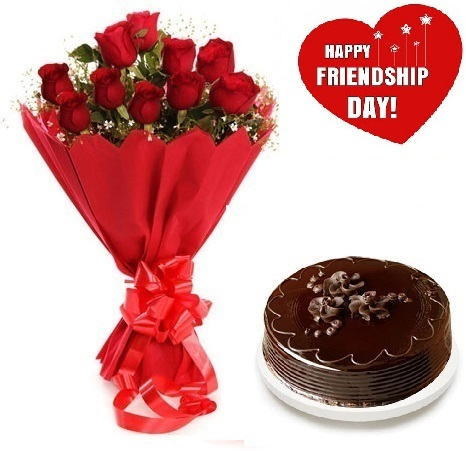 Friendship Day Gift Of Fresh Flower Bouquet (Bunch Of 12 Red Roses) And Cake - FFCAFRD304 (Mid-Night (11PM, 00AM), Make it eggless, 0.5 Kg)