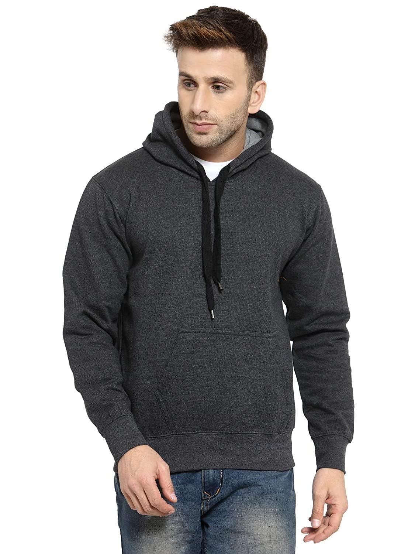 Mens Rich Cotton Charcoal Grey Hoodie Sweatshirt Without Zip (S-40)